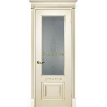Дверь Смальта 04 Слоновая кость ral 1013 патина золото  Сатинат, пескоструйная обработка со стеклом (Товар № ZF114717)