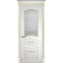 Дверь Смальта 05 Белый ral 9003 патина золото  Сатинат, шелкотрафаретная печать со стеклом (Товар № ZF114718)