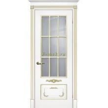 Дверь Смальта 09 Белый ral 9003 патина золото  Сатинат, пескоструйная обработка со стеклом (Товар № ZF114737)