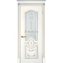 Дверь Смальта 11 Белый ral 9003 патина золото  Сатинат, шелкотрафаретная печать со стеклом (Товар № ZF114742)