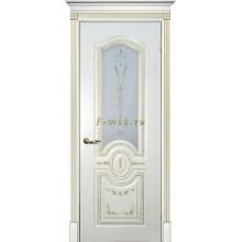 Дверь Смальта 11 Слоновая кость ral 1013 патина золото  Сатинат, шелкотрафаретная печать со стеклом (Товар № ZF114745)