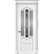 Дверь Смальта 13 Белый ral 9003 патина серебро  сатинат, шелкотрафаретная печать серебро со стеклом (Товар № ZF114755)