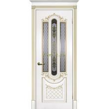 Дверь Смальта 13 Белый ral 9003 патина золото  Шелкотрафаретная печать со стеклом (Товар № ZF114753)