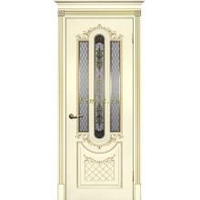 Дверь Смальта 13 Слоновая кость ral 1013 патина золото  Шелкотрафаретная печать со стеклом (Товар № ZF114757)