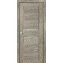 Дверь ТЕХНО-805 Гриджио  белый сатинат, черный лакобель со стеклом (Товар № ZF114871)