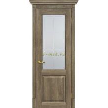 Дверь Тоскана-1 Бруно  Сатинат с художественным рисунком решетка со стеклом (Товар № ZF114895)