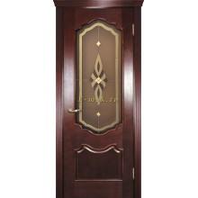 Дверь Фрейм 01 Красное дерево  Бронза, пленочный витраж рис. Афродита со стеклом (Товар № ZF115052)