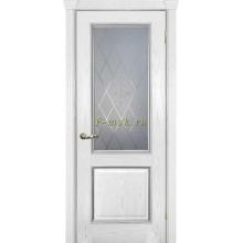 Дверь Фрейм 02 Ясень айсберг  Белое, гравировка, контурный витраж серебро рис. №1 со стеклом (Товар № ZF115053)
