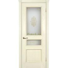 Дверь Фрейм 03 Ясень Бисквит  Белое, контурный витраж золото рис. №2 (два стекла) со стеклом (Товар № ZF115054)