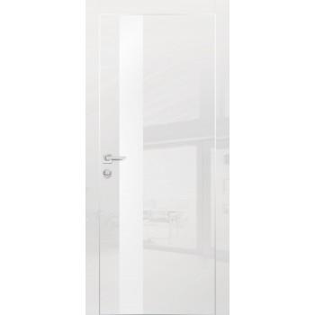 Дверь HGX-10 Белый глянец  Глянцевое покрытие Белый мателак со стеклом