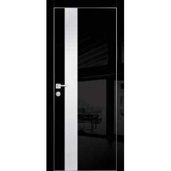 Дверь HGX-10 Черный глянец  Глянцевое покрытие Белый мателак со стеклом