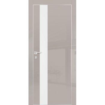 Дверь HGX-10 Латте глянец  Глянцевое покрытие Белый мателак со стеклом