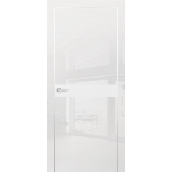 Дверь HGX-13 Белый глянец  Глянцевое покрытие Белый мателак со стеклом