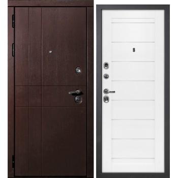 Дверь HGX-13 Черный глянец  Глянцевое покрытие Белый мателак со стеклом