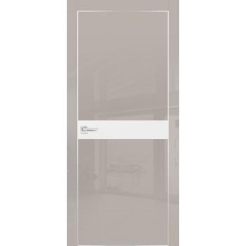 Дверь HGX-13 Латте глянец  Глянцевое покрытие Белый мателак со стеклом