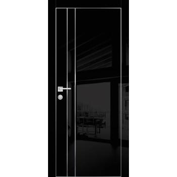 Дверь HGX-14 Черный глянец  Глянцевое покрытие глухое с молдингом