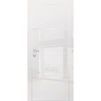 Дверь HGX-2 Белый глянец  Глянцевое покрытие глухое с молдингом
