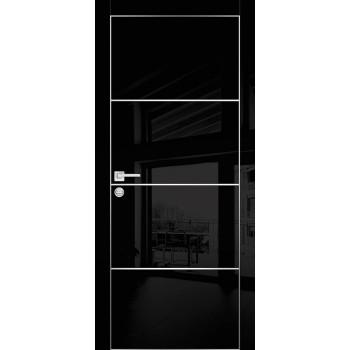 Дверь HGX-2 Черный глянец  Глянцевое покрытие глухое с молдингом