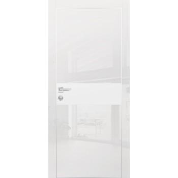 Дверь HGX-3 Белый глянец  Глянцевое покрытие Белый мателак со стеклом
