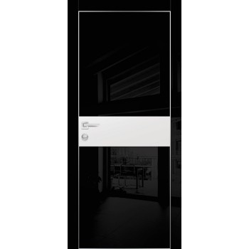 Дверь HGX-3 Черный глянец  Глянцевое покрытие Белый мателак со стеклом