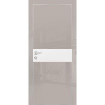 Дверь HGX-3 Латте глянец  Глянцевое покрытие Белый мателак со стеклом