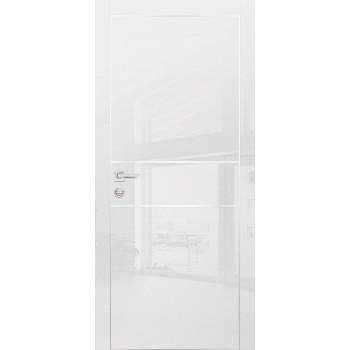 Дверь HGX-4 Белый глянец  Глянцевое покрытие глухое с молдингом