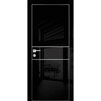 Дверь HGX-4 Черный глянец  Глянцевое покрытие глухое с молдингом