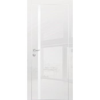 Дверь HGX-8 Белый глянец  Глянцевое покрытие Белый мателак со стеклом