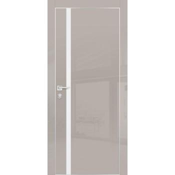 Дверь HGX-8 Латте глянец  Глянцевое покрытие Белый мателак со стеклом