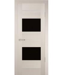 Дверь PS-21 Перламутровый дуб  Экошпон черный лакобель со стеклом