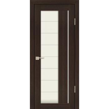 Дверь PS-41 Венге Мелинга  Экошпон белый сатинат со стеклом