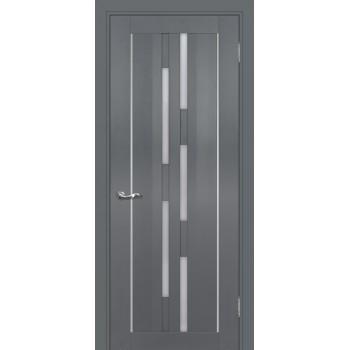 Дверь PSC-33 Графит  Экошпон белый сатинат со стеклом