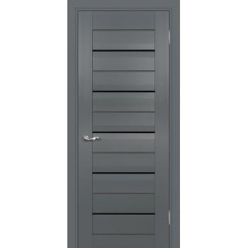 Дверь PSC-48 Графит  Экошпон черный лакобель стекло с молдингом