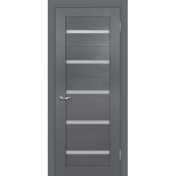 Дверь PSC-7 Графит  Экошпон белый сатинат со стеклом