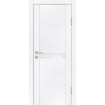 Дверь PSM-3 Дуб скай белый  Экошпон белоснежный лакобель со стеклом