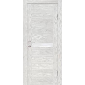 Дверь PSM-3 Дуб скай бежевый  Экошпон белоснежный лакобель со стеклом