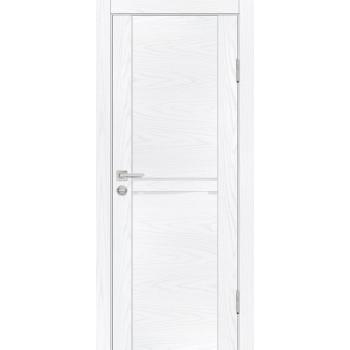 Дверь PSM-4 Дуб скай белый  Экошпон белоснежный лакобель со стеклом