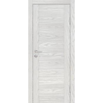 Дверь PSM-4 Дуб скай бежевый  Экошпон белоснежный лакобель со стеклом