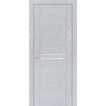 Дверь PSM-4 Дуб скай серый  Экошпон белоснежный лакобель со стеклом