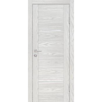 Дверь PSM-5 Дуб скай бежевый  Экошпон белоснежный лакобель со стеклом