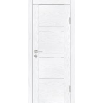 Дверь PSM-6 Дуб скай белый  Экошпон белоснежный лакобель со стеклом