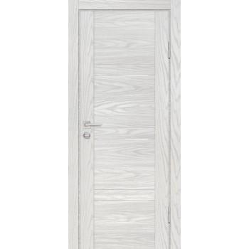 Дверь PSM-6 Дуб скай бежевый  Экошпон белоснежный лакобель со стеклом