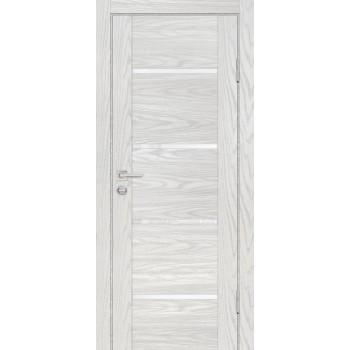Дверь PSM-7 Дуб скай бежевый  Экошпон белоснежный лакобель со стеклом