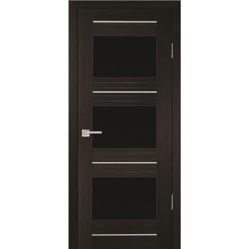 Дверь PSS-11 Мокко  Экошпон черный лакобель со стеклом