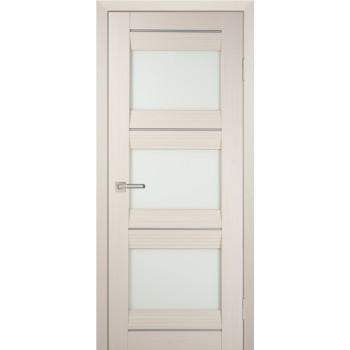 Дверь PSS-11 Перламутровый дуб  Экошпон белый лакобель со стеклом