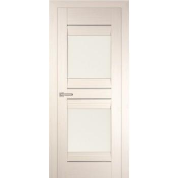 Дверь PSS-21 Перламутровый дуб  Экошпон белый лакобель со стеклом