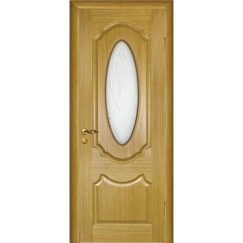 Дверь Ариана Светлый дуб  Шпон Сатинат, пескоструйная обработка со стеклом