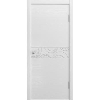 Дверь Комбо 02 Ясень белоснежный  Шпон глухое