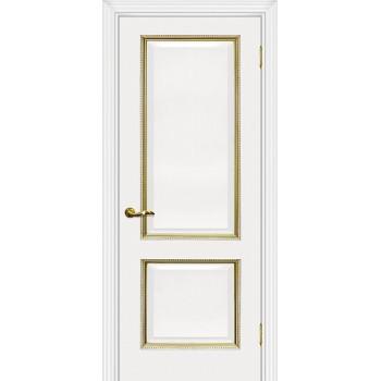 Дверь Мурано-1 белый, патина золото  Экошпон глухое