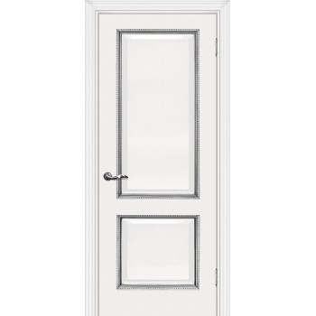 Дверь Мурано-1 белый, патина серебро  Экошпон глухое